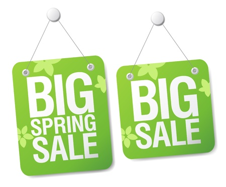 cheap prices: Big spring sale signs set.