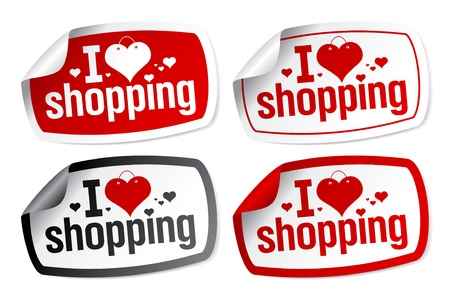 I love shopping stickers set. Stock Vector - 9334446