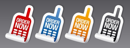 Order now stickers set. Stock Vector - 9334437