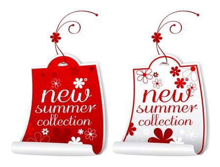 Etiquetas de la colección de verano nuevo. Ilustración de vector