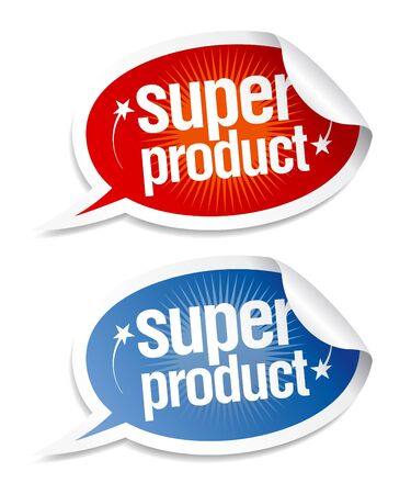 Super product stickers in form of speech bubbles.  Stock Vector - 9334441