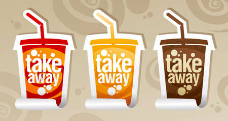 Take away stickers in form of take away cup. Vector