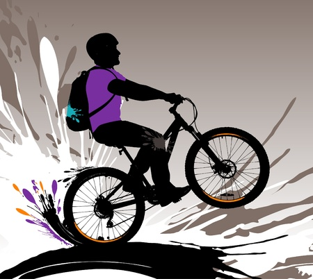 extreme sports: Biker silhouette, vector illustration with splashes.