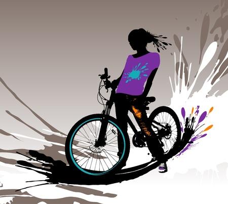 Biker girl silhouette, vector illustration with splashes.