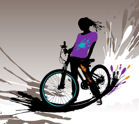 bicycle silhouette: Biker girl silhouette, vector illustration with splashes.