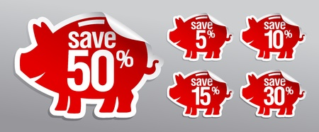 Discount labels in form of piggy bank. Vector