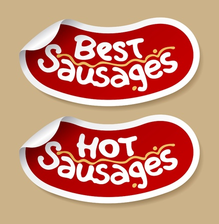 Best sausages stickers set. Vector