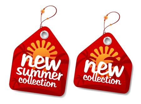 Etiquetas de la colección de verano nuevo.
