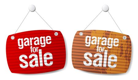 relocation: Garage for sale signs in form of roller shutters. Illustration