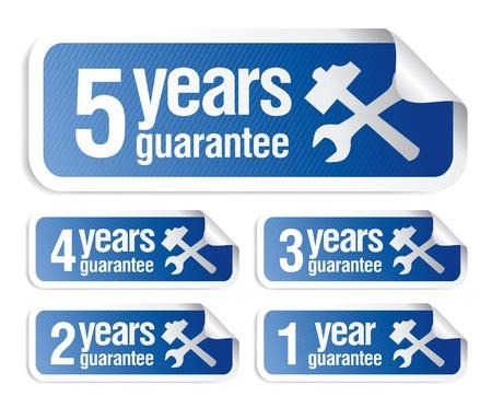 guarantee seal: vector azul garantizar conjunto de adhesivos Vectores