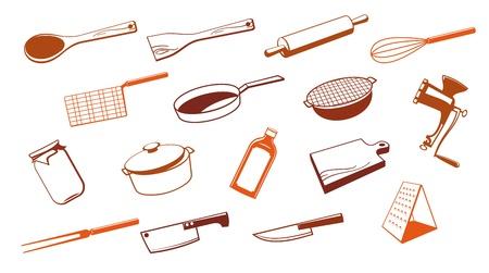 ink pot: Conjunto de herramientas de utensilio de cocina de vector.