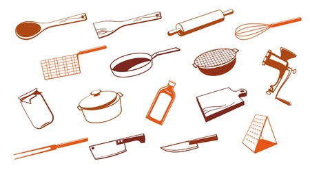 ink pot: Set of vector kitchen utensil tool. Illustration