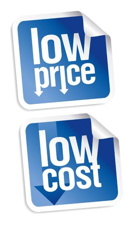 price: Low price stickers set with shadow. Illustration
