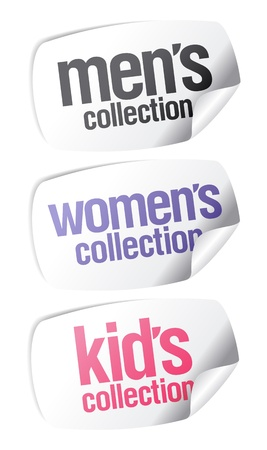 Men`s, women`s and kid`s collection stickers set Stock Vector - 9427443