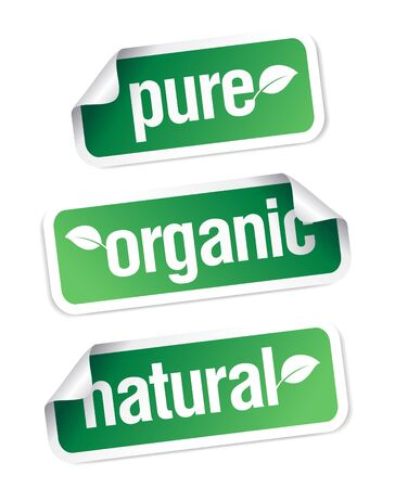 Set of pure, organic and natural stickers. Stock Vector - 9427445