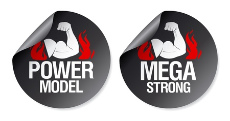 Mega strong, power model stickers set. Stock Vector - 9427436