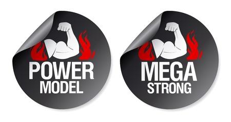 Mega strong, power model stickers set. Stock Vector - 9427436
