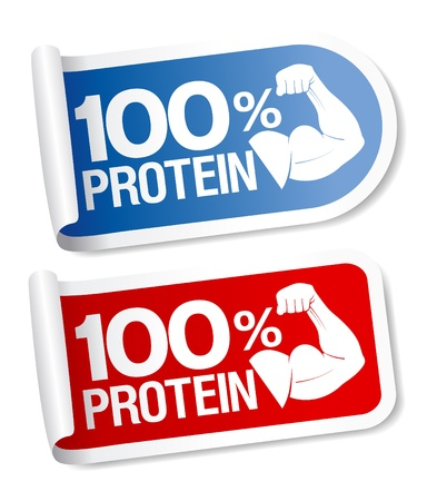 protein: 100 % protein, energy sports food stickers.