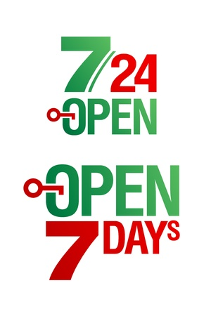 7 Days Open vector set Stock Vector - 9453412