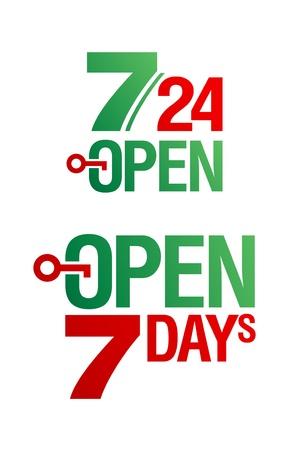 shopsign: 7 Days Open vector set