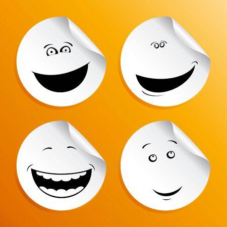 pelota caricatura: Conjunto de etiquetas de emoticonos. Vectores