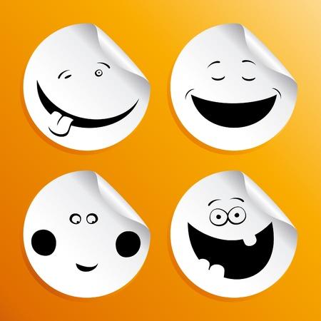Set of smileys stickers. Vector