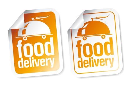 negocios comida: Conjunto de pegatinas de entrega de alimentos.