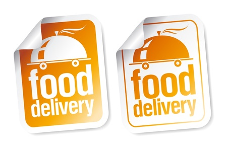 eating fast food: Food delivery stickers set. Illustration