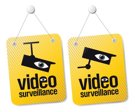 crimes: Video surveillance signs set.
