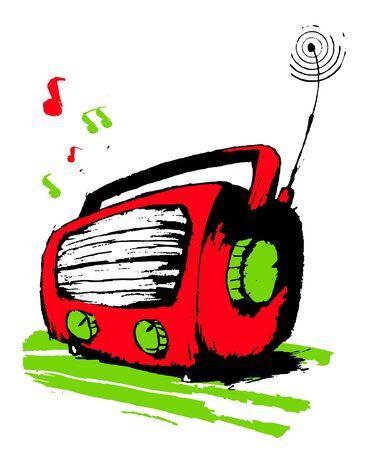 Red radio plays music. Vector
