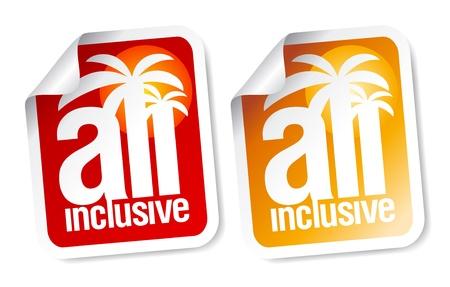 All inclusive labels set. Stock Vector - 9496641