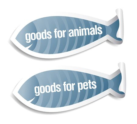 goods for pets and animals stickers set Stock Vector - 9496642