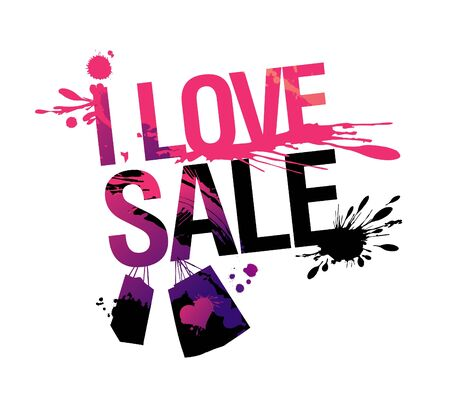 I love sale, vector illustration with splashes. Vector