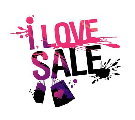sputter: I love sale, vector illustration with splashes.