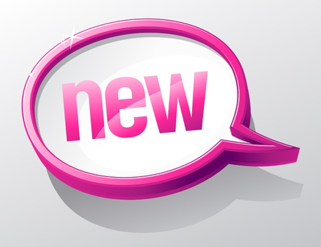 soon: Nieuwe glanzende glazen tekstballon. Stock Illustratie