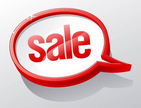 Sale shiny glass speech bubble. Stock Vector - 9496636