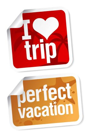 I love trip, perfect vacation labels set. Stock Vector - 9496644