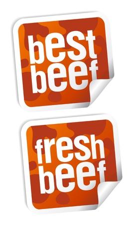 Best beef for steak stickers set Vector