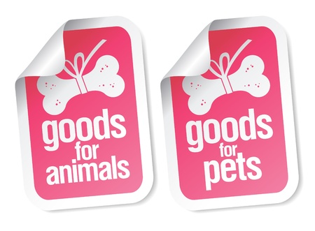 goods for pets pink stickers set Vector