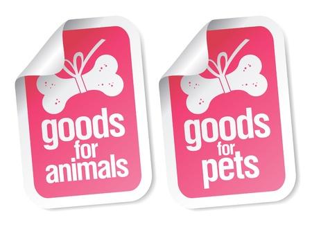 forage: goods for pets pink stickers set Illustration