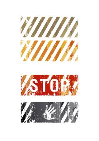 Vector militarians striped backgrounds with a word stop and a palm Vector