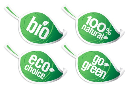 go green icons: Set of natural product stickers in the form of leaves.