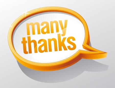 thanks: Many thanks shiny glass speech bubble.