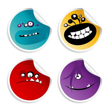 Monster smileys, set of wicked stickers. Vector