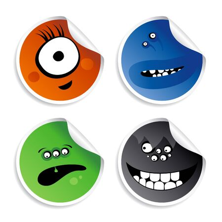 smileys: Monster smileys, set of wicked stickers. Illustration