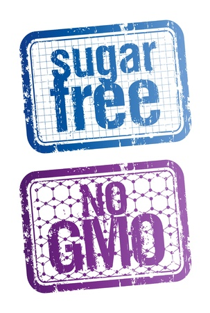 hmo: Set of stamps for sugar free and bio food. Illustration