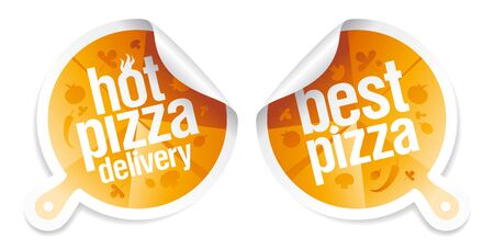 Best pizza, hot pizza delivery stickers. Vector