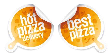 Meilleur pizza, chaud autocollants de livraison de pizza.