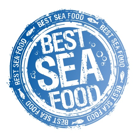 fresh fish: Best Sea Food rubber stamp.