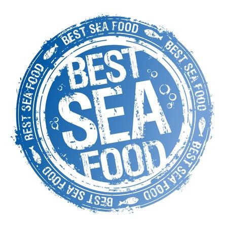 pescados y mariscos: Sello de comida de mar mejor.